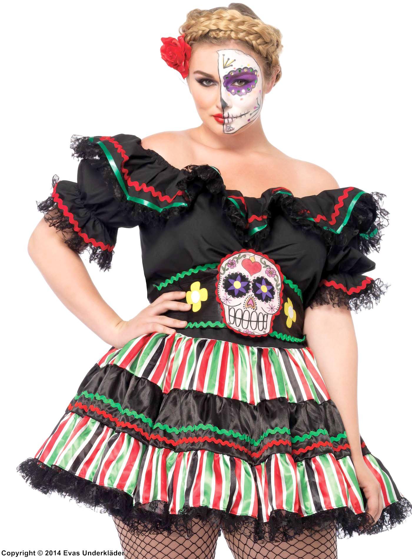 Mexikansk halloweenklänning, plus size